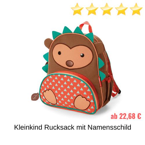 Kleinkind Rucksack mit Namensschild